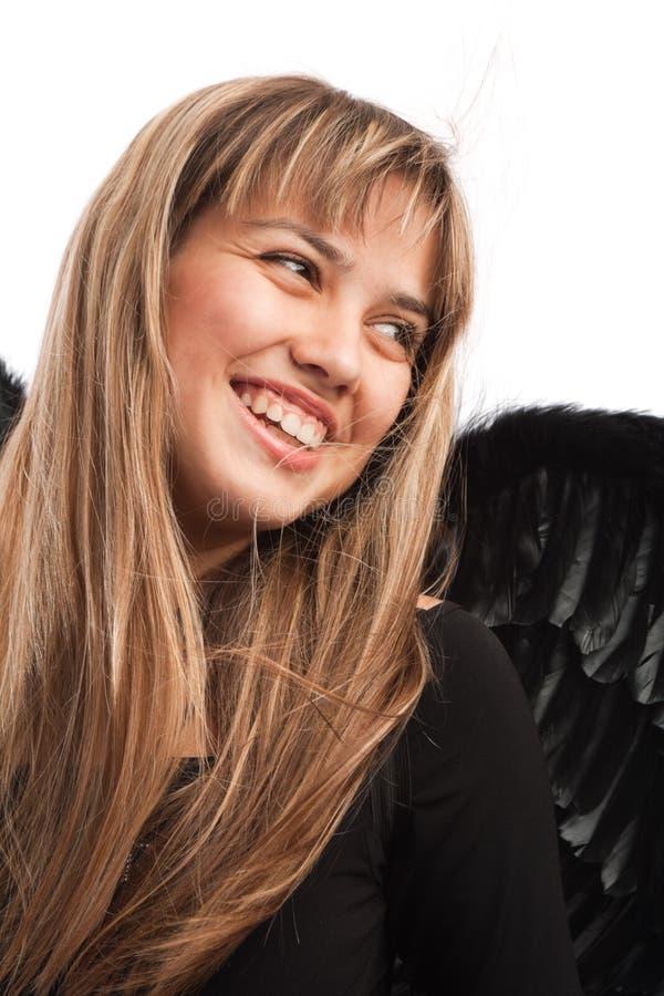 天使笑的纵向 免版税库存照片