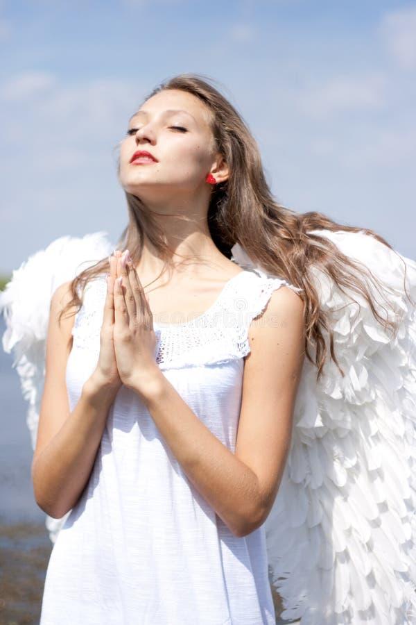 天使美好祈祷 库存图片