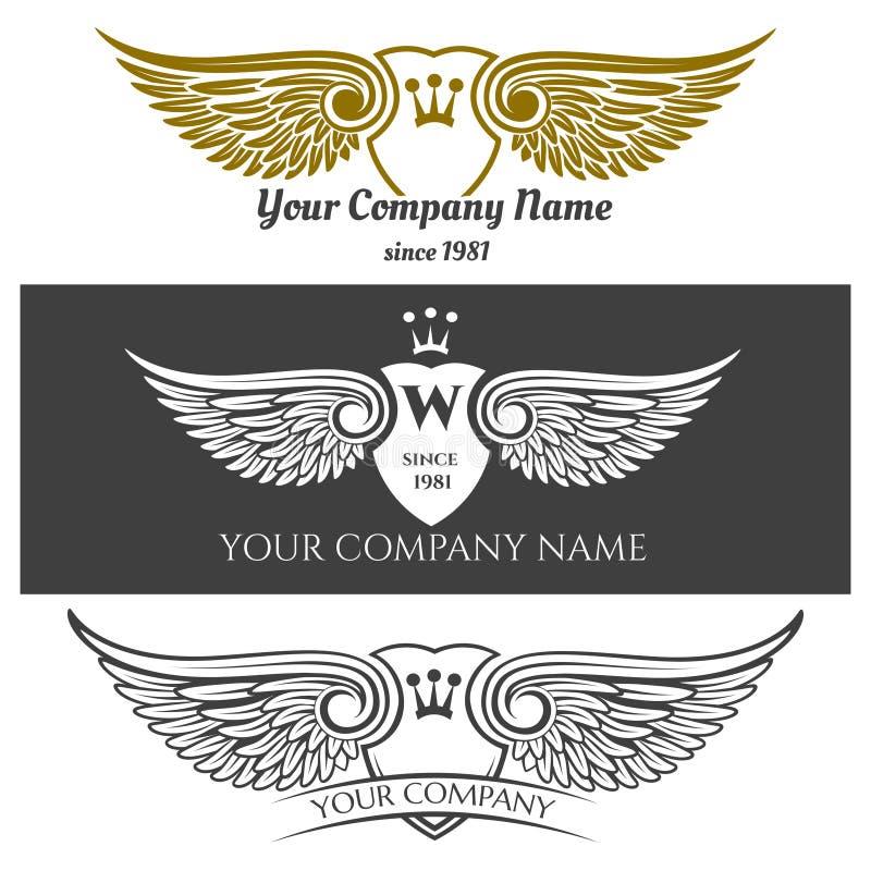 黑天使翼商标集合 传染媒介飞过了与冠和纹章学盾的标签在背景 皇族释放例证