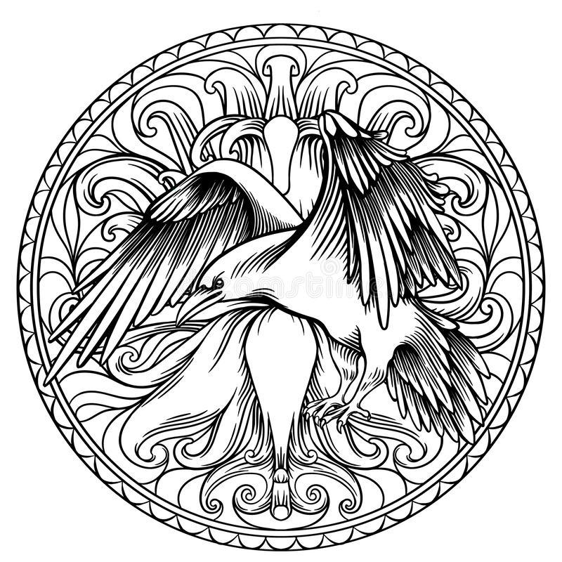 天使翼线艺术例证有心脏和掠夺的 葡萄酒印刷品 纹身花刺的,行家T恤杉设计,葡萄酒剪影 向量例证