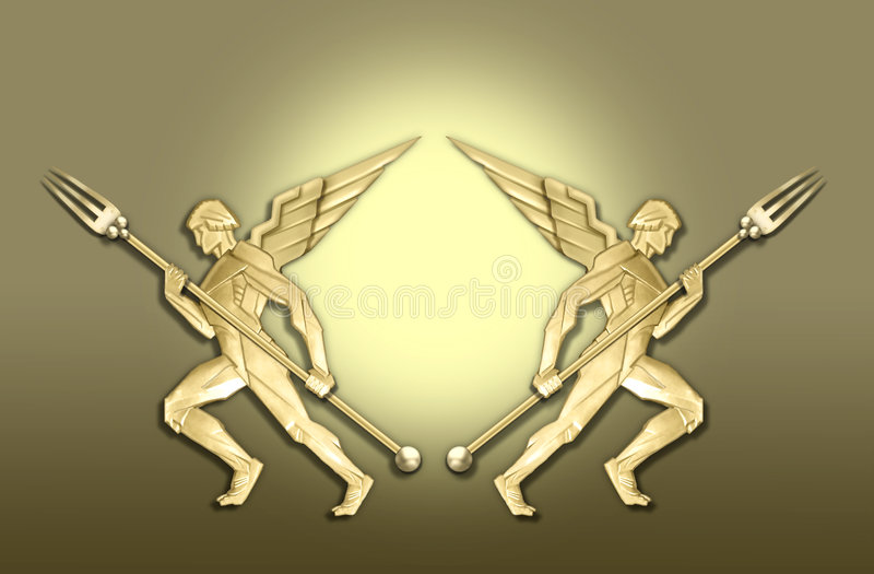 天使艺术装饰叉子框架金黄w 皇族释放例证