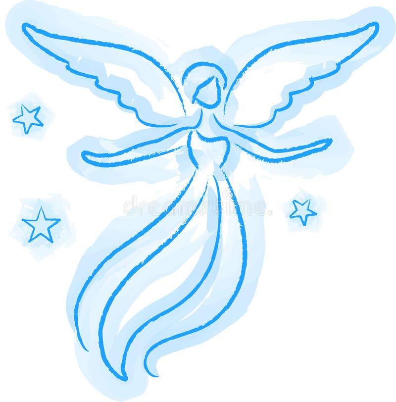 天使草图 向量例证