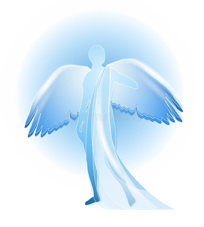 天使蓝色剪影 库存例证