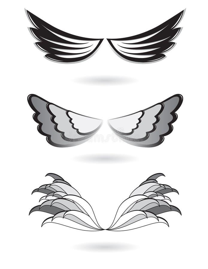 天使集合翼 库存例证