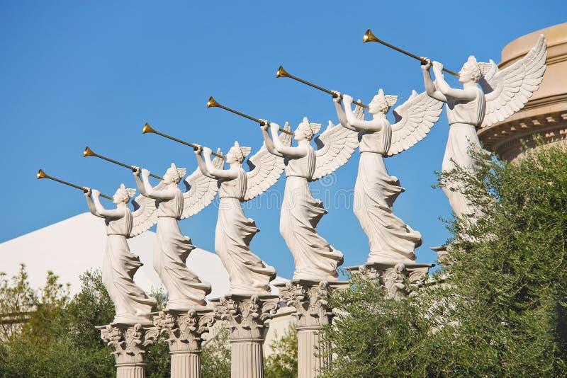 天使雕象在凯撒宫中在拉斯维加斯 库存图片