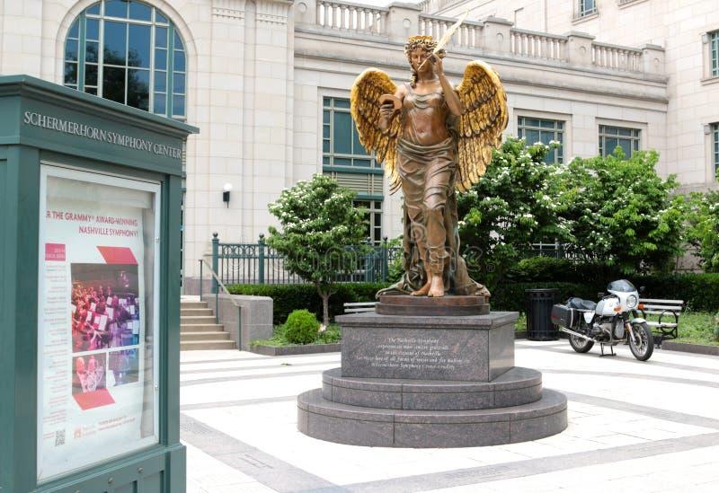 天使雕象在Schermerhorn交响乐中心纳稀威 免版税图库摄影