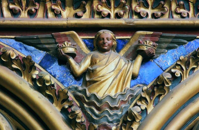 天使雕象, La Sainte Chapelle在巴黎 图库摄影