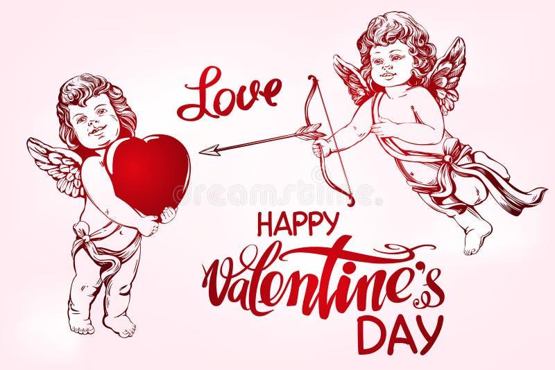 天使, amyr小的婴孩集合 丘比特射击与箭头的一把弓在心脏,爱,华伦泰s天,贺卡手 库存例证