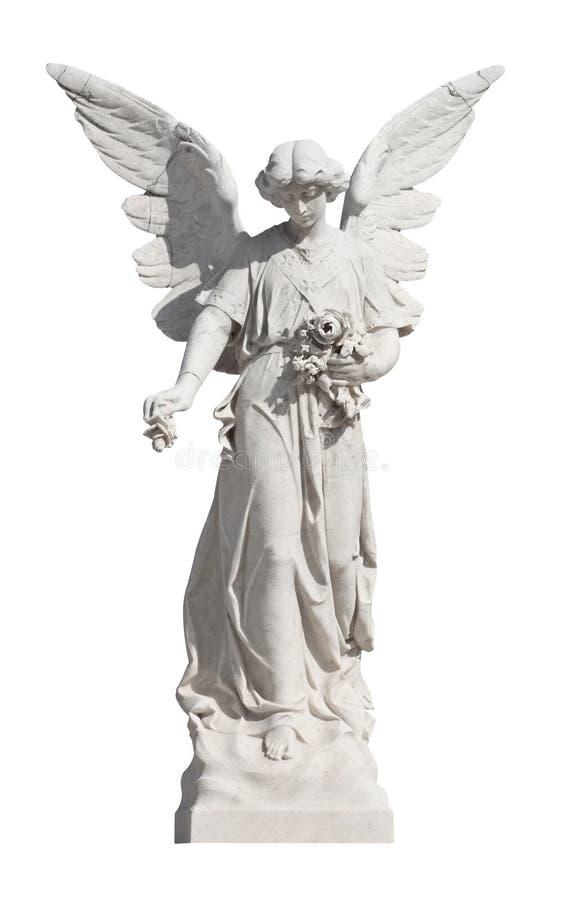 天使ayoung查出的雕象白色 库存照片