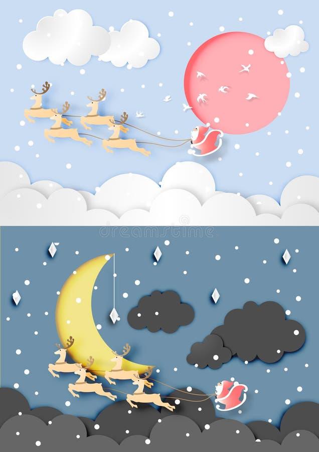 天和夜间在与圣诞老人项目和驯鹿的圣诞节在天空和纸艺术样式背景抽象传染媒介和 皇族释放例证