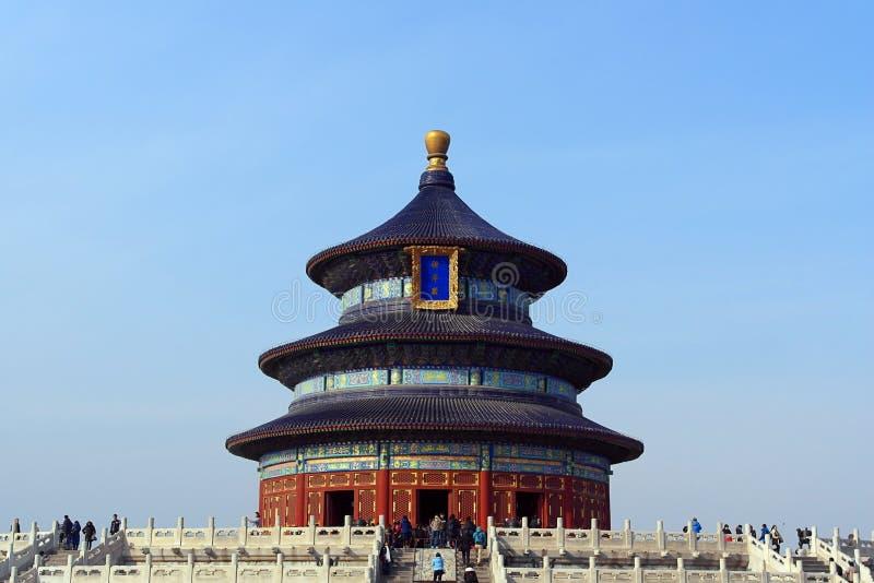 天坛正面图有清楚的蓝天背景在北京,中国 免版税图库摄影