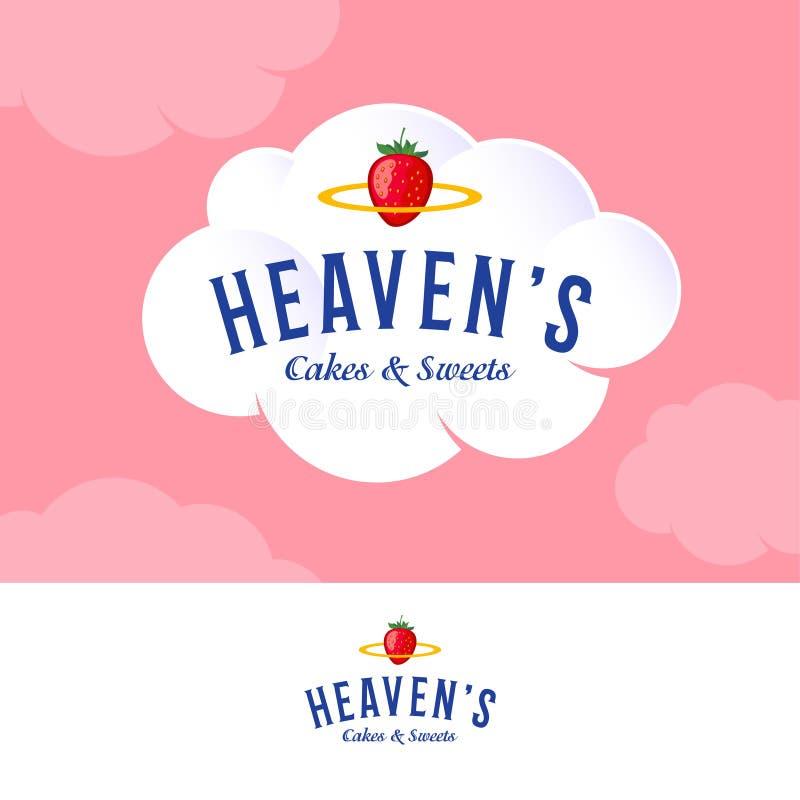天堂商标 在白色奶油色云彩的面包店和酥皮点心商标 信件和金黄雨云用草莓 皇族释放例证