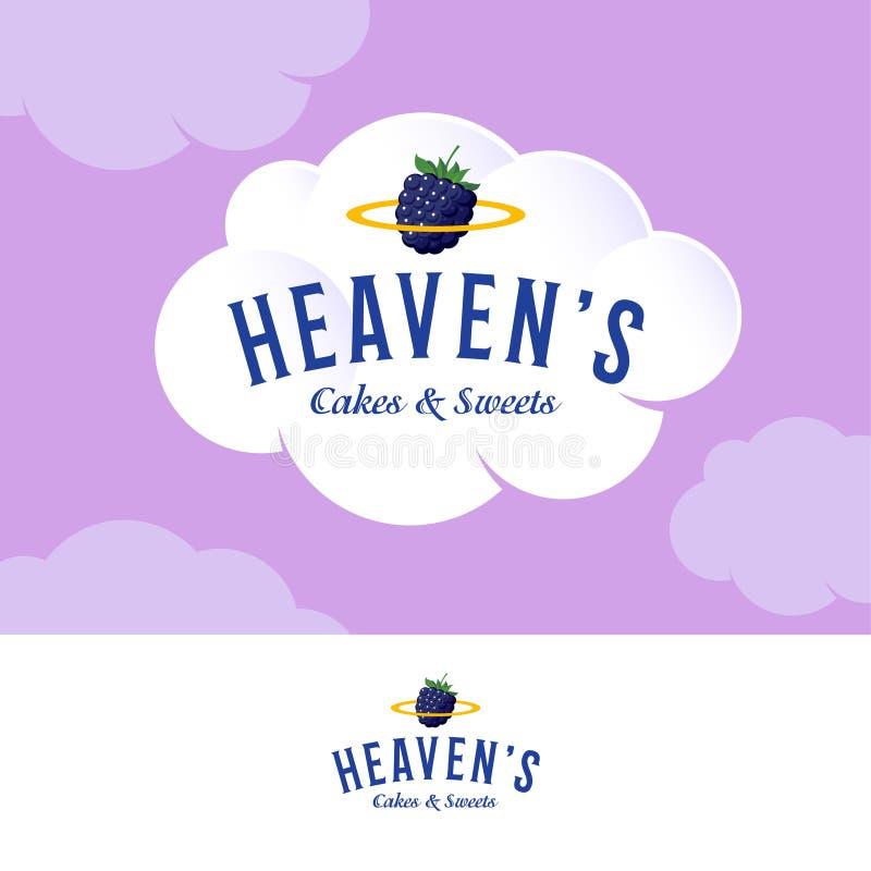 天堂商标 在白色奶油色云彩的面包店和酥皮点心商标 在白色奶油色云彩的面包店和酥皮点心商标 信件和金黄雨云 库存例证