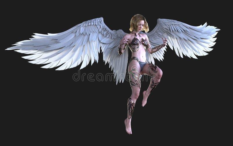 天堂天使翼,有裁减路线的白色翼全身羽毛 皇族释放例证