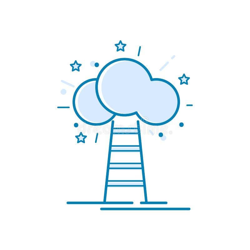 天堂楼梯 稀薄的线成功的,奖,成就,顶面成功概念的元素设计观念 库存例证