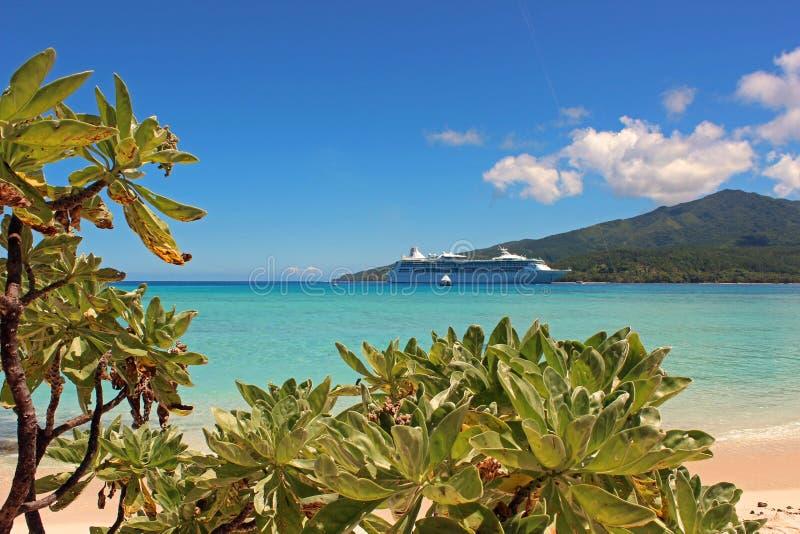 天堂海滩在奥秘海岛,瓦努阿图,南太平洋 免版税库存照片