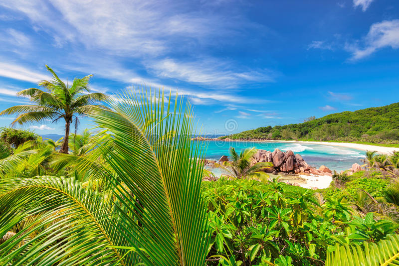 天堂海滩塞舌尔群岛-盛大Anse 免版税库存照片