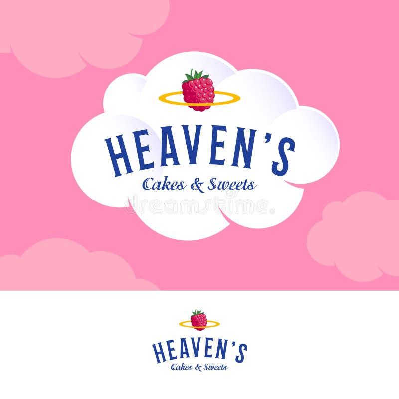 天堂的云彩商标 在白色奶油色云彩的面包店和酥皮点心商标 信件和金黄雨云用草莓 库存例证