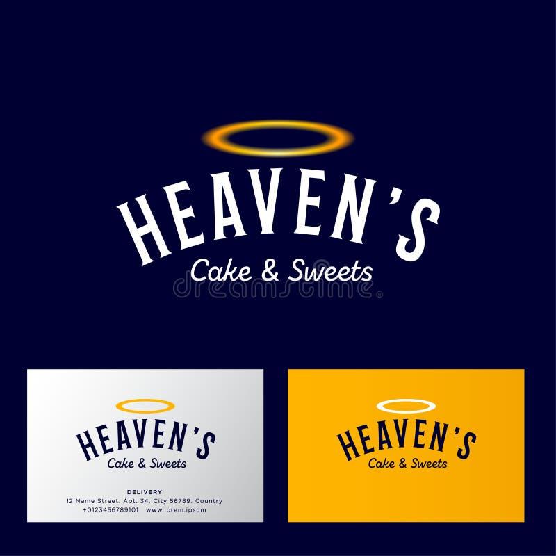 天堂的蛋糕和甜点商标 面包店和酥皮点心象征 信件和金黄雨云 库存例证