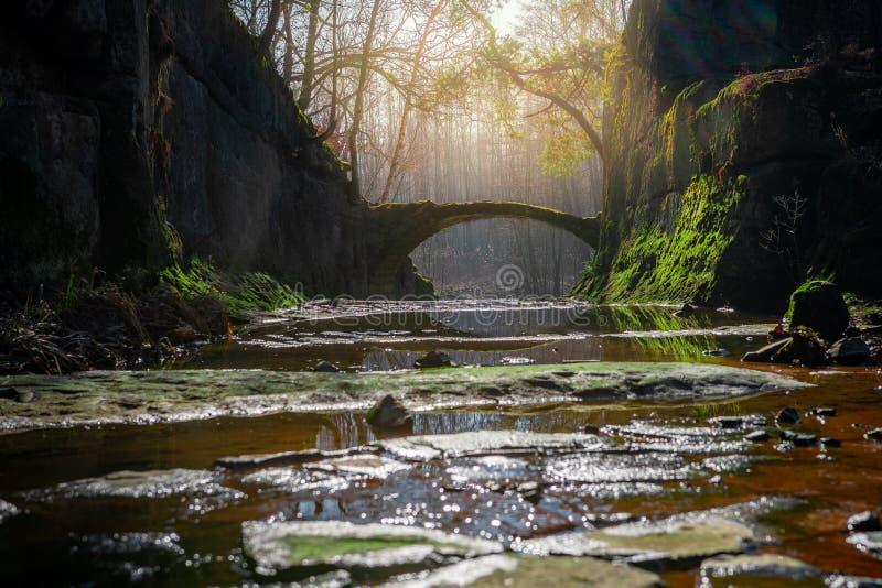 天堂石头桥梁在有岩石的森林里 库存图片
