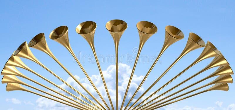 天堂般的中世纪喇叭圈子和天空 皇族释放例证