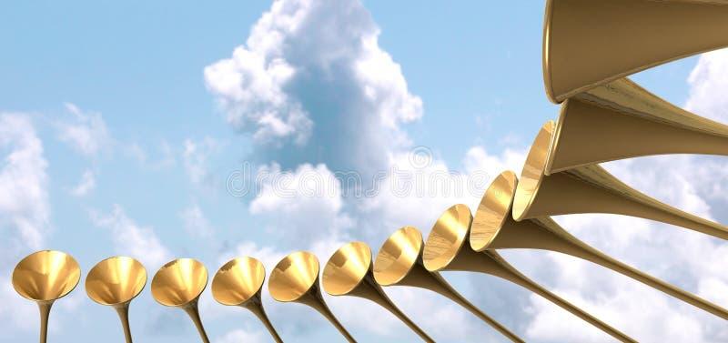 天堂般的中世纪喇叭圈子和天空 向量例证