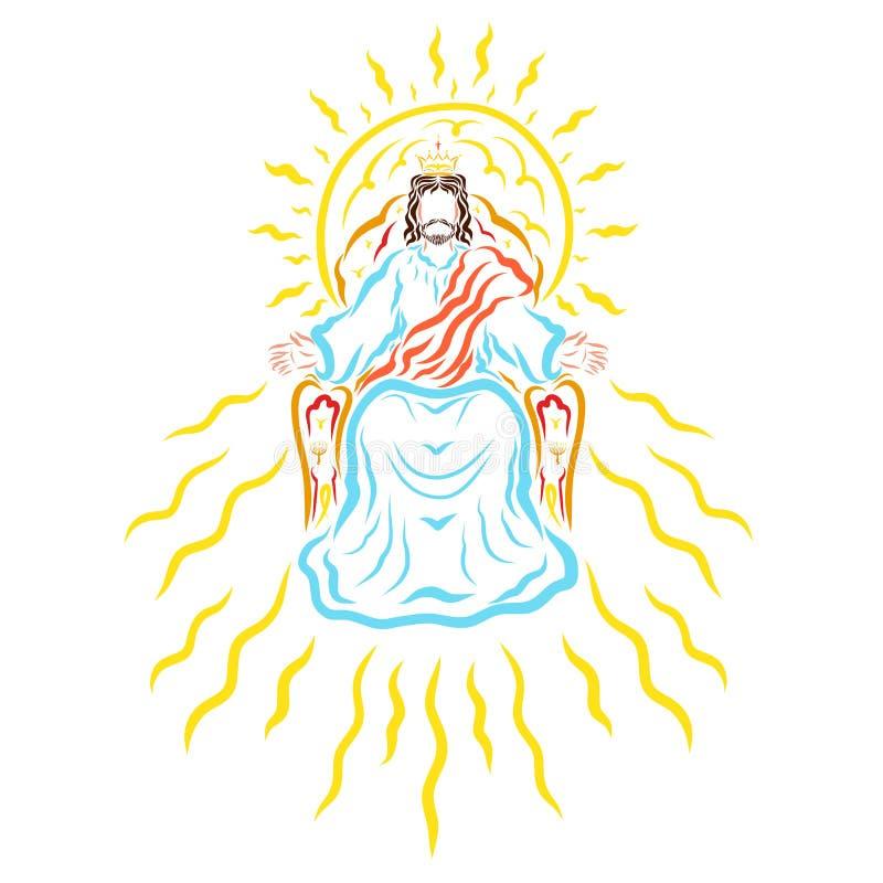 天堂般的王位的,冠,阳光阁下耶稣 库存例证