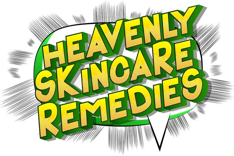 天堂般的Skincare补救-漫画样式词 向量例证