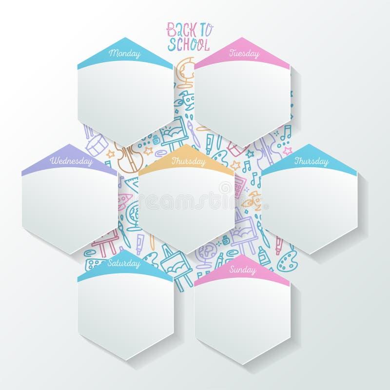 天天活动时间表与现实板料的在六角形形状 概念性星期组织者 对学校或 皇族释放例证