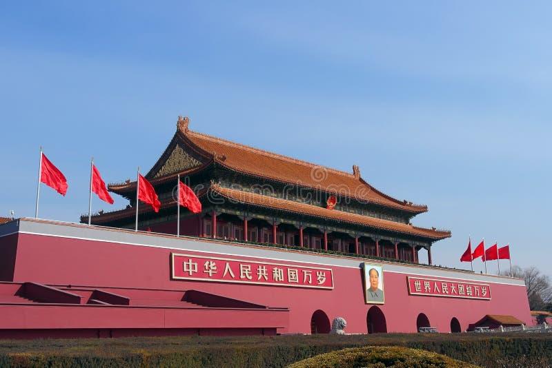 天安门门入口到故宫里在北京,中国 免版税库存照片