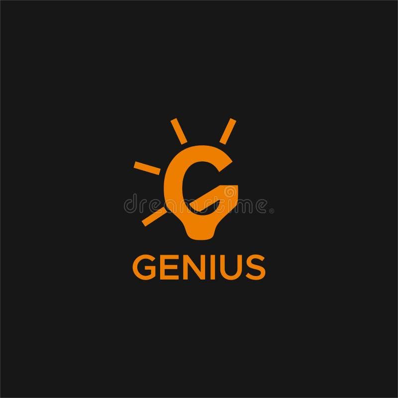 天才灯G商标设计 库存例证