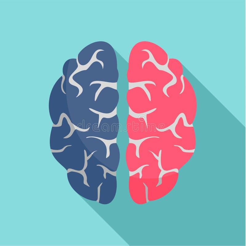 天才脑子象,平的样式 向量例证