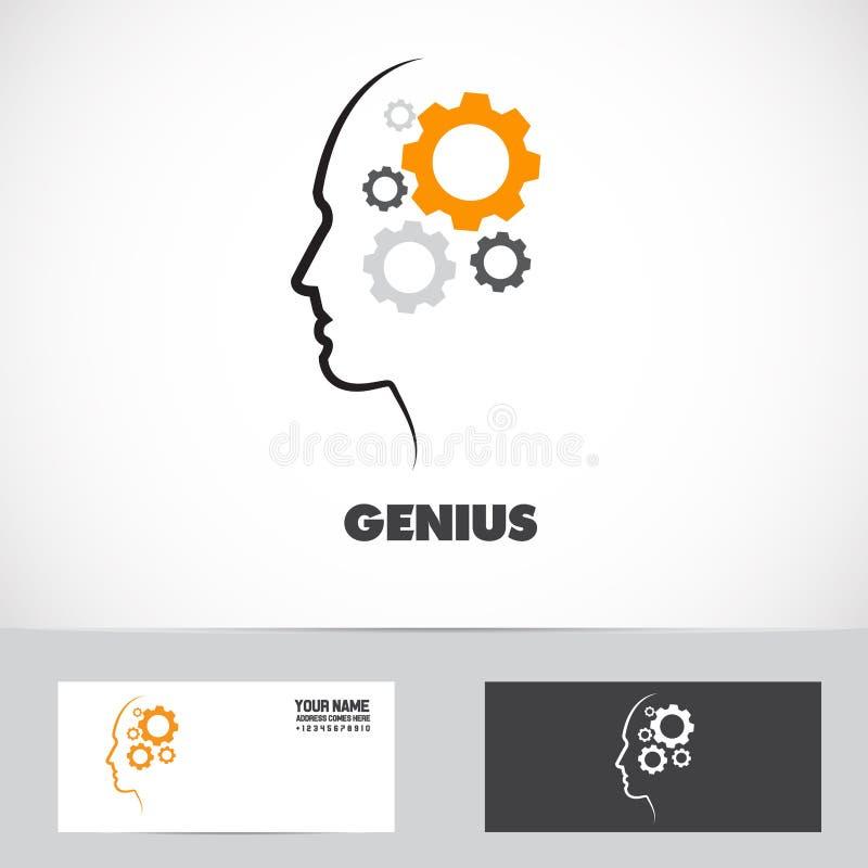 天才运作的头脑齿轮商标 库存例证