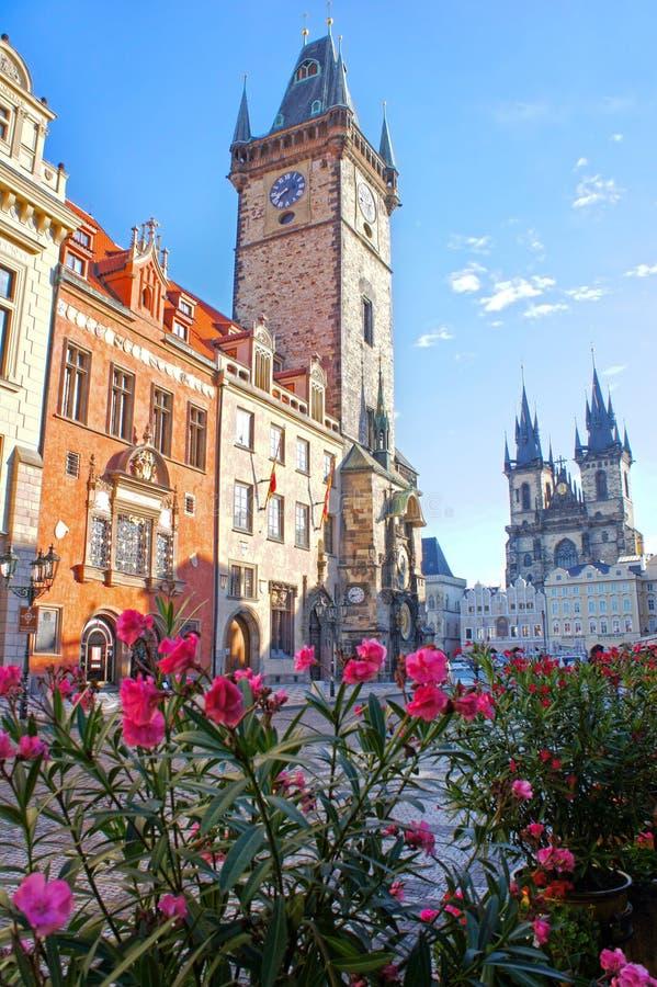 天文学时钟在早晨在老镇布拉格,捷克 图库摄影