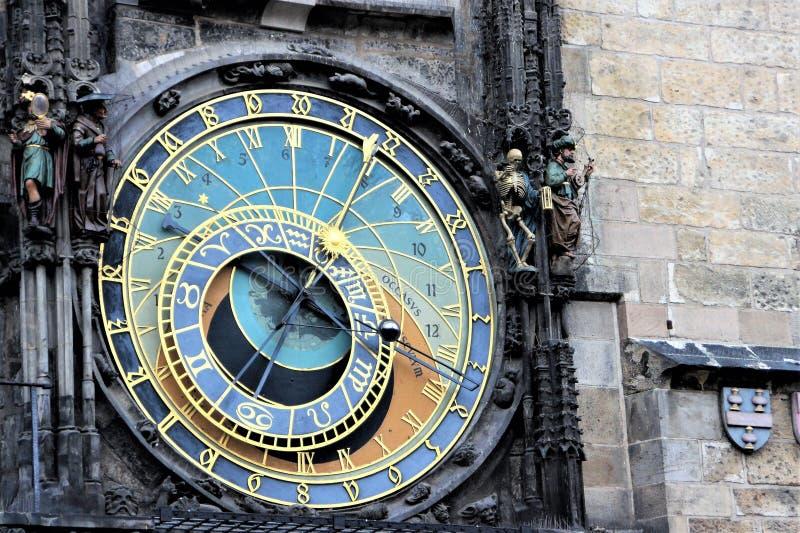 天文学时钟在老正方形的中心在奥尔德敦区在布拉格,捷克 库存照片