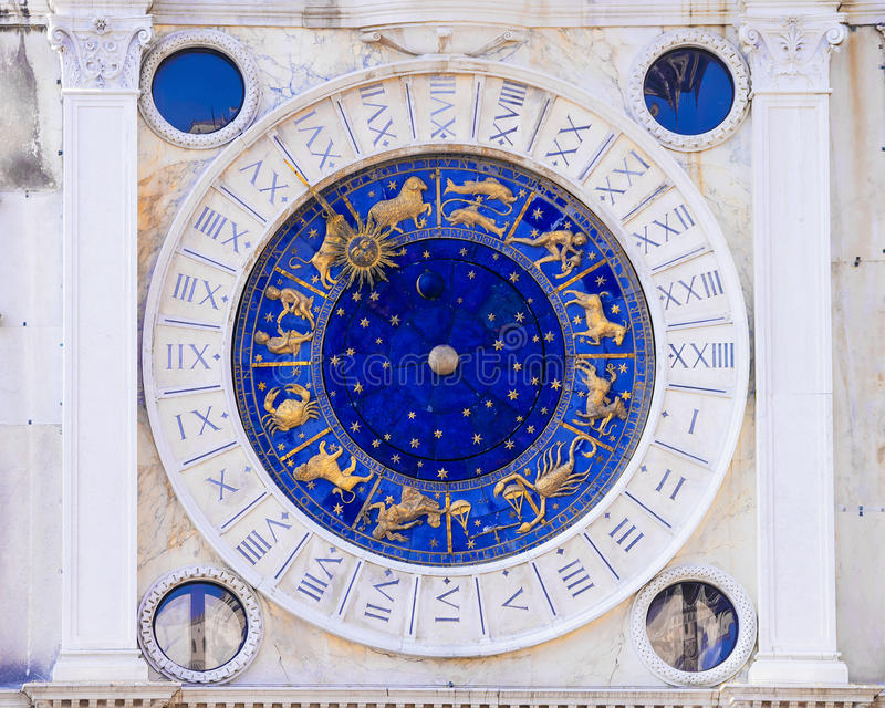 天文学时钟意大利威尼斯 免版税库存照片