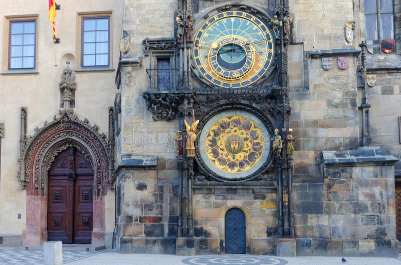 天文学时钟老布拉格方形城镇 免版税库存图片