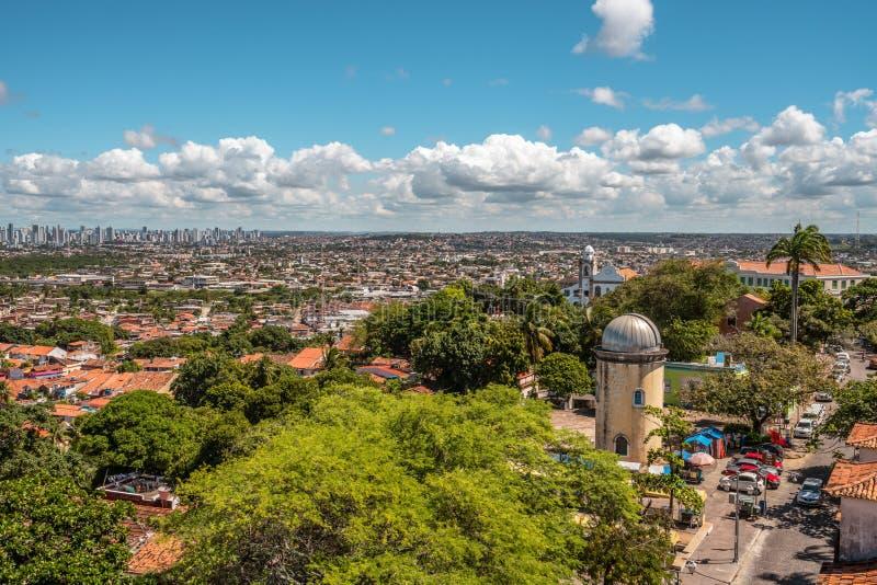天文学观测所的鸟瞰图,奥林达, Pernambuco,巴西 免版税库存照片