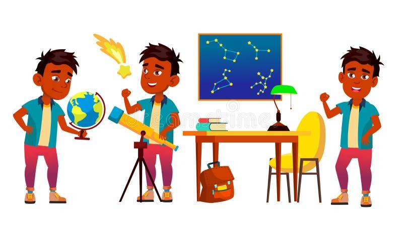 天文,天体物理学学生传染媒介卡通人物集合 库存例证