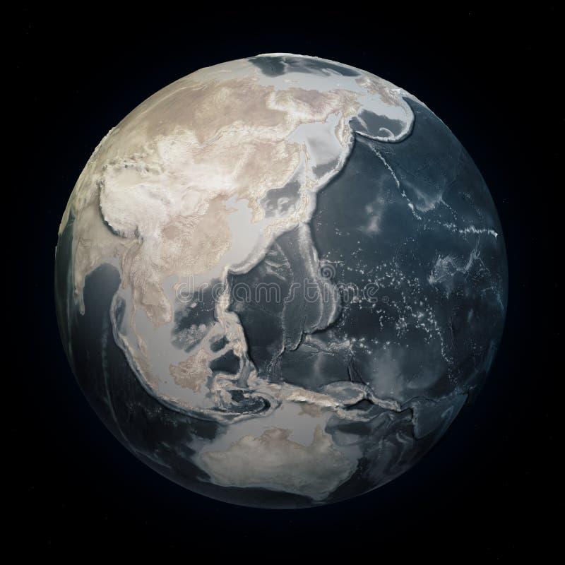 天旱在世界上,干燥行星地球 没有水的气候变化土地 与安心的海底深测术 全球性变暖 向量例证