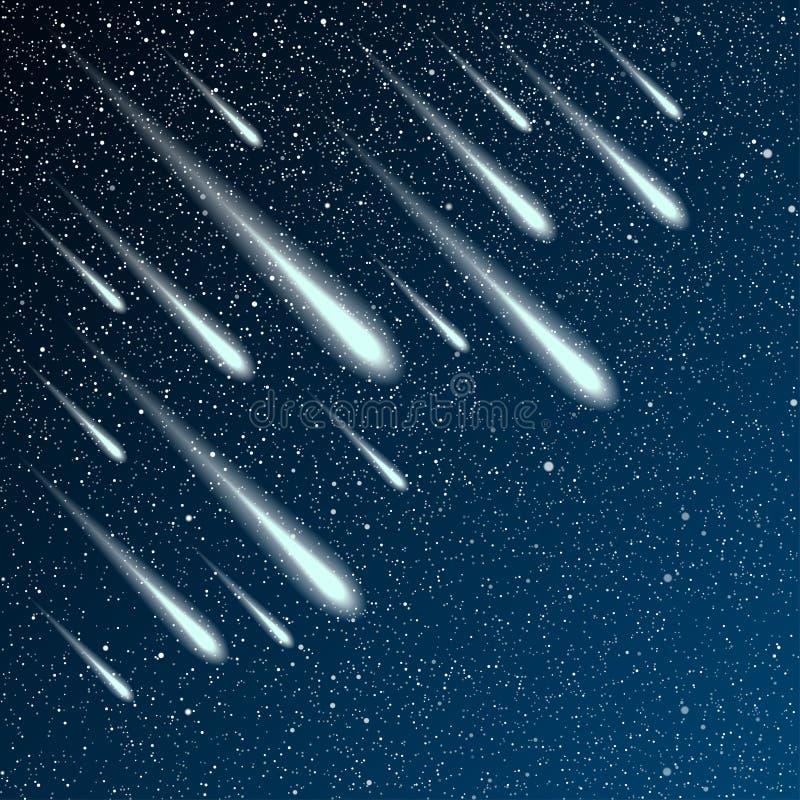 满天星斗的夜空 星,夜 彗星,飞星 皇族释放例证