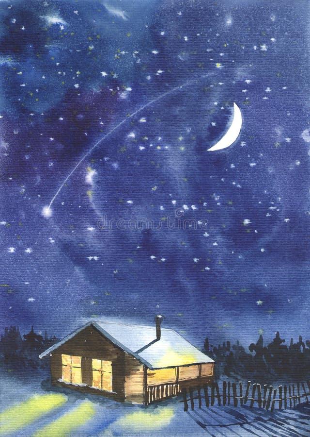 满天星斗的天空和一间客舱在森林 库存例证