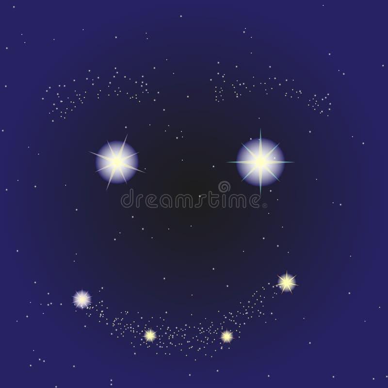满天星斗的天空的图片与微笑的 动画片样式 库存图片