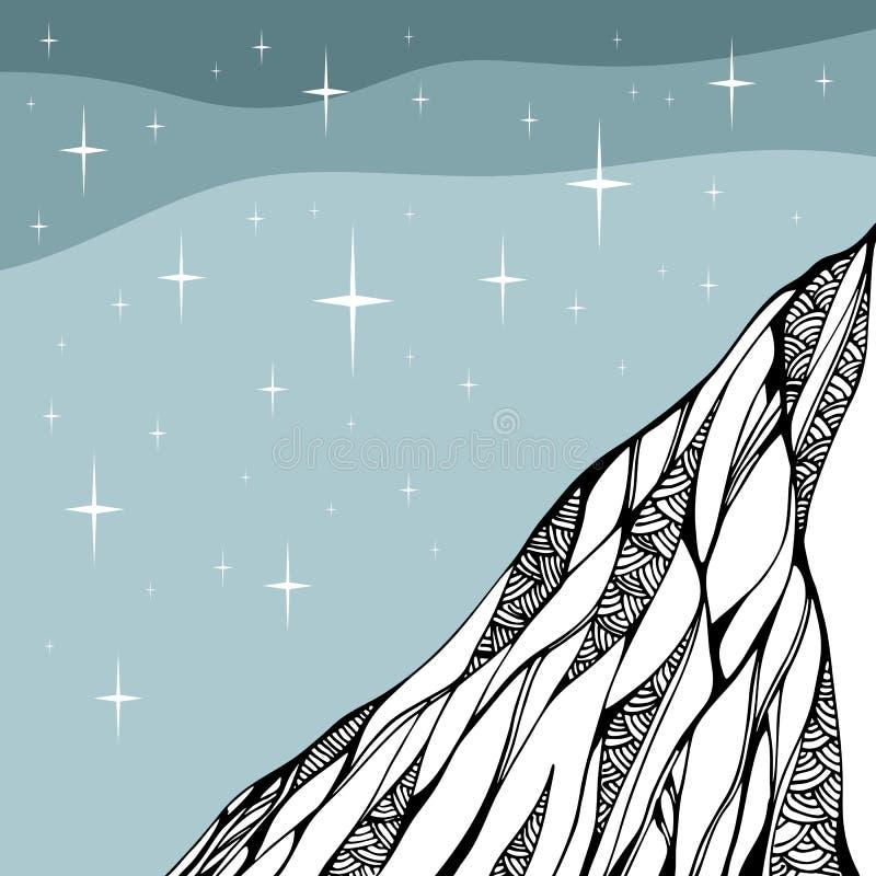 满天星斗的晚上 山乱画图画  手拉的向量例证 皇族释放例证