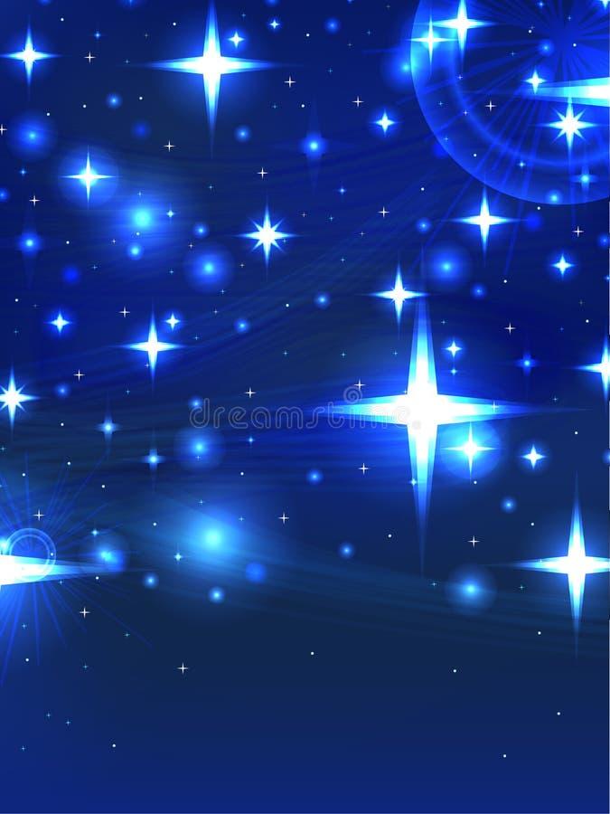 满天星斗的蓝色夜 库存例证