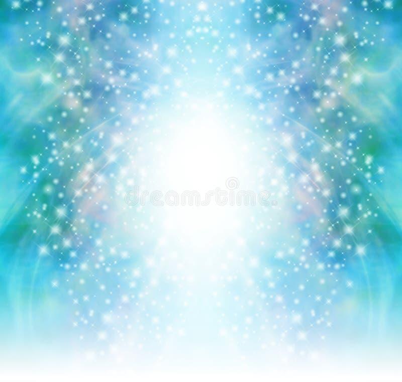 满天星斗的闪光绿色闪耀的背景 皇族释放例证