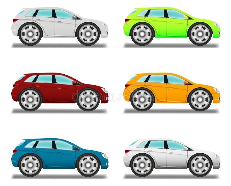 天桥。有重要人物的动画片汽车。 向量例证