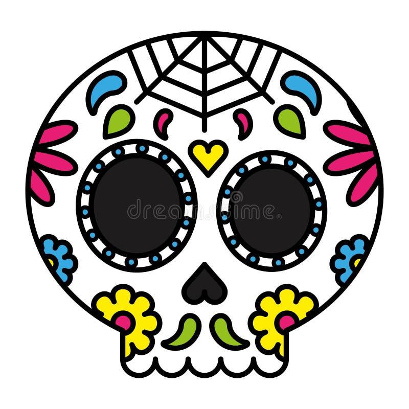 天死的糖头骨五颜六色花卉 向量例证