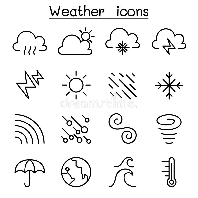 天气、气象学&气候象在稀薄的线型设置了 皇族释放例证