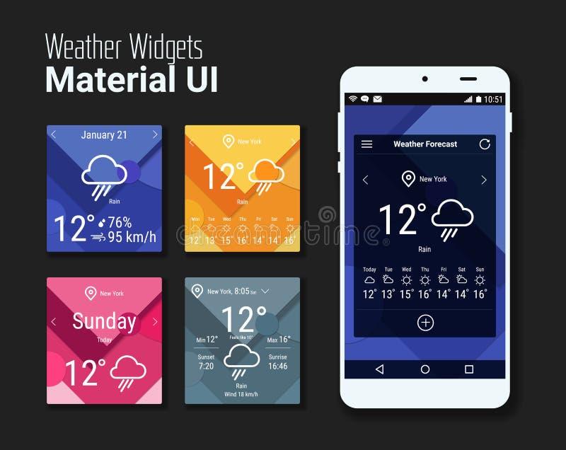 天气装饰物UI和UX材料成套工具 皇族释放例证